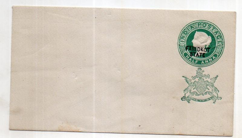 India - FARIDKOT STATE 1/2 AS  OVERPRINT  envelope mint WITH GREEN  MONO UNUSED