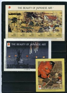 PALAU 2001 Sc#612-613,615 JAPANESE PAINTINGS SHEET OF 6 STAMPS & 2 S/S MNH