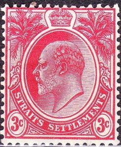 MALAYA STRAITS SETTLEMENTS 1908 KEDVII 3c Red SG153 MH