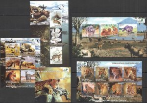 H1116 IMPERF 2003 IVORY COAST NATURE CONSERVANCY FAUNA ANIMALS BIRDS 4KB+1BL MNH