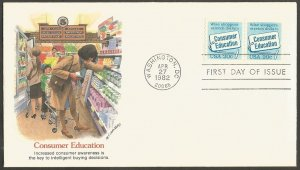 US FDC.1982 CONSUMER EDUCATION 20C COIL STAMP,FIRST DAY OF ISSUE COVER,FLEETWOOD