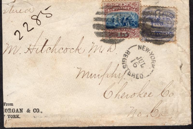 US#118 Type I and #114 On Registered Cover to Cherokee County, N.C.