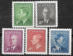 Canada # 289-93  George VI - POSTAGE omitted  5)  Unused