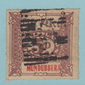 QUEENSLAND MUNDUBBERA FIVE PENCE RAILWAY STAMP NO FAULTS EXTRA FINE!