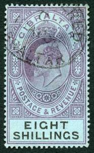 Gibraltar SG54 KEVII 8/- Dull Purple and Black/blue Wmk Crown CA CDS Used