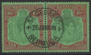 BERMUDA SG119a 1939 10/= BLUISH GREEN & DEEP RED/GREEN FINE USED PAIR