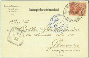 86113 - URUGUAY - postcard : PRISON  -  PAQUEBOT Boat MAIL to ITALY 1902  NICE!