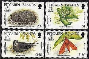 HERRICKSTAMP PITCAIRN ISLANDS Sc.# 371-74 1992 Expedition Insect, Flower