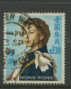 Hong Kong - Scott 213 -QEII Definitive Issue-1962 -Used- Single $1.30c Stamp
