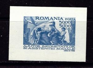 Romania B348 Issued without gum 1947 mini S/S