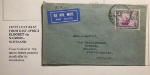 1934 Eldoret Kenya First Flight Airmail Cover FFC To Braemar Scotland