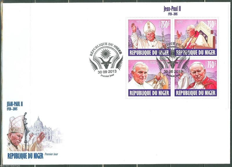 NIGER 2013 POPE JOHN PAUL II SHEET   FIRST DAY COVER