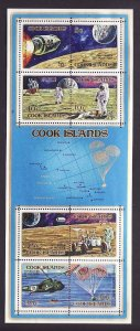 Cook Is.-Sc#322c-unused NH sheet-Space-Apollo Moon Explorations-1972-