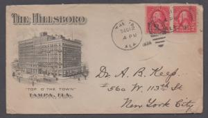 **US 20th Century Advertising Cover, Tampa, FL, 12/12/1924, Hillsboro Hotel