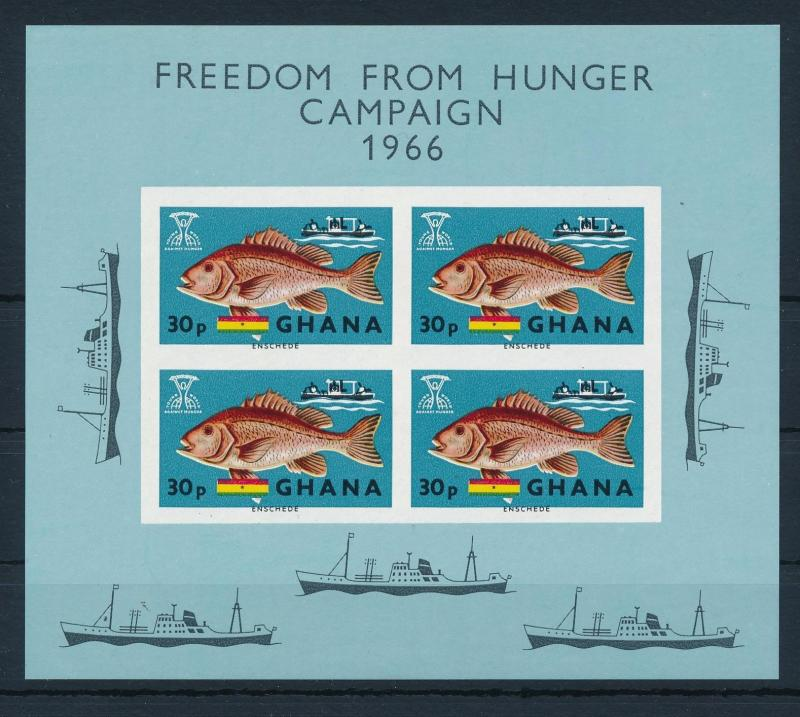 [36584] Ghana 1966 Freedom from hunger Marine life Fish S/S MNH