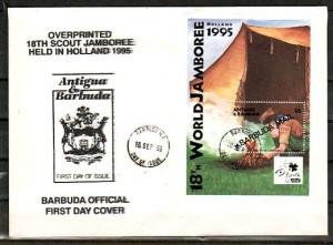 Barbuda, Scott cat. 1578. Holland Scout Jamboree s/sheet. First day cover. ^