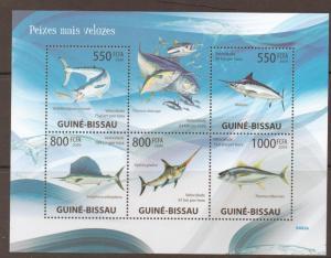 G.BISSAU 2009 MARINE FISH SPEED RECORDS   SHEETLET MNH