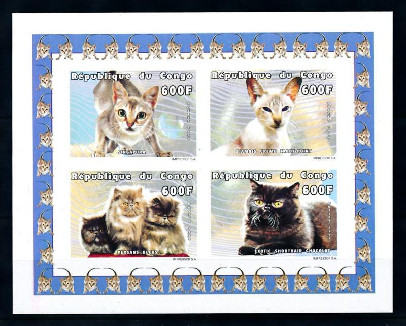 [75728] Congo Brazzaville 1999 Pets Cags Imperf. Sheet MNH