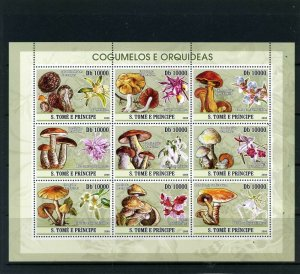 St. Thomas & Prince Islands MNH S/S Mushrooms & Orchids 2008 9 Stamps