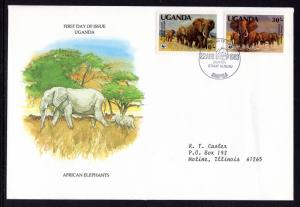 Uganda 372-373 Elephants Typed FDC