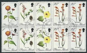 PITCAIRN 1970 Flowers blocks of 4 fine used................................41405