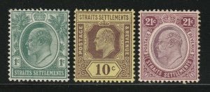 Malaya Singapore 1904-10 Straits Settlements KE VII  3V MCCA MLH M1892