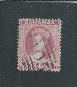 BAHAMAS 1863-77 4d BRIGHT ROSE PERF 14 WMK INVERTED FU SG 35w CAT £225