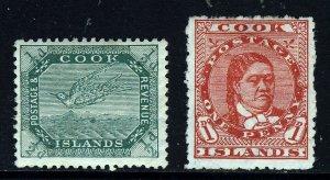 COOK ISLANDS 1909-11 ½d. & 1d. P14½x14 & P14 Wmk Close NZ Star SG 37 & 38a MINT