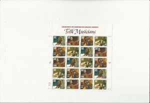 US Stamps/Postage/Sheets Sc #3215a Folk Musicians MNH F-VF OG FV 6.40