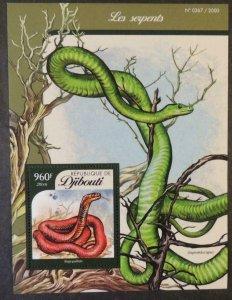 Djibouti 2016 snakes reptiles s/sheet mnh