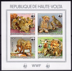 Upper-Volta (Burkina Faso) 1984 WWF Cheetah S/S SPECIMEN Imperforated MNH