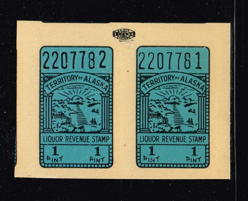 US STAMP BOB  #Alaska Liquor Tax Stamp SELF ADHESIVE STAMP MNH PAIR BLUE