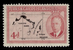 TURKS & CAICOS ISLANDS GVI SG227, 4d black & rose, M MINT.