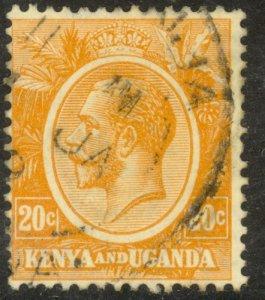 KENYA  AND UGANDA 1922-27 KGV 20c Portrait Issue Sc 25 VFU