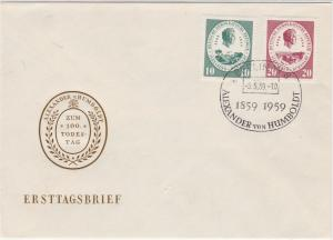 Germany DDR 1959 Berlin Alexander Von Humboldt Cancel Stamps FDC Cover Ref 30268
