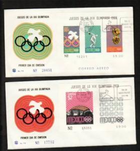 Mexico 998a,1001a,C344a,C348a Olympics 1968 S/4 U/A FDC