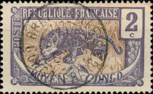 CONGO - 1908 CAD  BRAZZAVILLE / CONGO FRANÇAIS  SUR 2c Panthère Yv.49 / Mi.2
