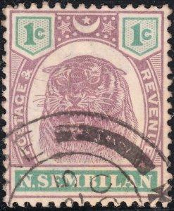 Negri Sembilan 1899 QV 1c Tiger Dull Purple & Green FU