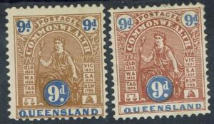 QUEENSLAND 1903 & 1906 COMMONWEALTH 9D BOTH WMK V/CROWN & CROWN/A