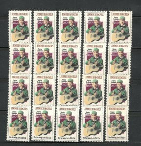 1755 Jimmie Rogers Wholesale Lots Of 20 US Stamps Mint/nh Below Face SHIPS FREE