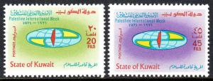 Kuwait 525-526, MNH. Intl. Palestine Week. Globe, Map of Palestine, 1971