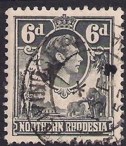 Northern Rhodesia 1938 - 52 KGV1 6d Grey SG 38 ( L1159 )