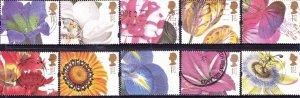 Great Britain 1997 QEII 1st Greeting Flowers Set SG1955-1964 FU