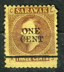 SARAWAK; 1871 early classic Brooke issue ONE CENT Mint hinged