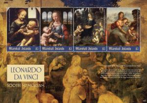 Marshall Islands Art Stamps 2019 MNH Leonardo Da Vinci Madonna Paintings 4v M/S