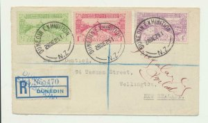 NEW ZEALAND 1925 DUNEDIN EXHIBITION SET ON REG COVER EXHIBITION H/S TO WELLING