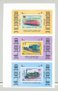 Ajman MI #1197-1202 Trains 6v Imperf Proofs of Deluxe Sheets on 2v Sheets