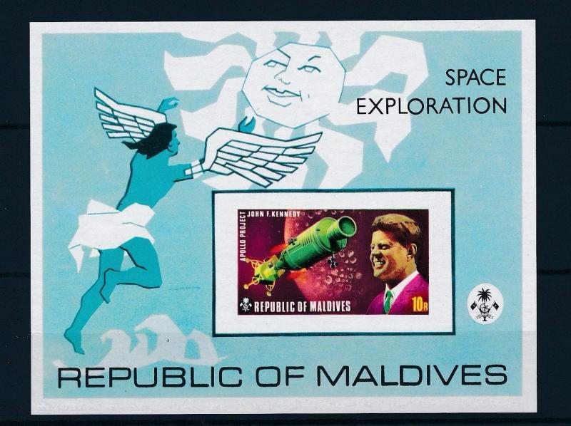 [36706] Maldives 1973 Space exploration Kennedy Imperforated SS MNH