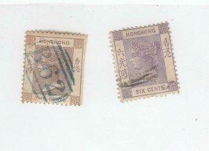 HONG KONG (MK6330) # 8,12 VF-USED 2,6c 1863-80 QUEEN VICTORIA /BRN,LILAC CV $29
