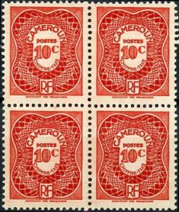 Cameroun #J24 10c postage due MNH Block of 4